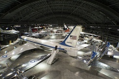 An overhead gallery view of the fourth building aircraft at the National Museum of the United States Air Force including the Boeing VC-137C SAM 26000 used as Air Force One by Kennedy, Johnson, and Nixon.