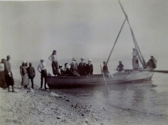 Tourists on a boat at Tiberias, 1891