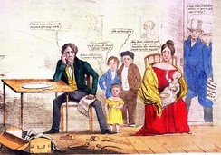 Whig cartoon depicting the effects of unemployment on a family that has Jackson's and Van Buren's portraits on the wall