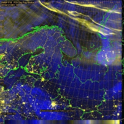 DMSP images of Auroral bands circling north of Scandinavia