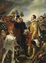 Philip II of Spain berating William the Silent, Prince of Orange, by Cornelis Kruseman, painting from 19th century. This scene was purported to have happened on the dock in Flushing when Philip departed the Netherlands.[8]