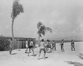 A beach volleyball game between members of President Harry S. Truman's vacation party at Key West, Florida in 1950