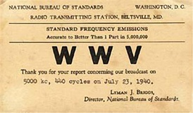 A 1940 QSL card for WWV, indicating its early location in the U.S. state of Maryland