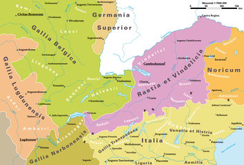 Map of the Alpine region of the Roman Empire in 14 AD