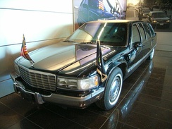 Bill Clinton's presidential limousine on display at the library