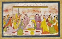Radha and the Gopis celebrating Holi, with accompaniment of music instruments