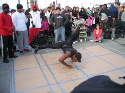 A b-boy performing in San Francisco