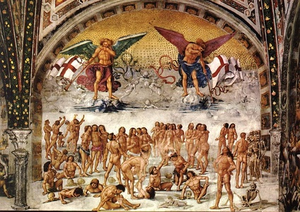"Resurrection of the Flesh (c. 1500) by Luca Signorelli – based on 1 Corinthians 15: 52: ""the trumpet shall sound, and the dead shall be raised incorruptible, and we shall be changed."" Chapel of San Brizio, Duomo, Orvieto."