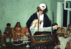 Theremin performer Anton Kershenko and his young pupil at Eupatoria Deep Space Communication Center