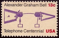 Bell prototype telephone stampCentennial Issue of 1976