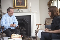 The Guardian senior news writer Esther Addley interviewing Ecuadorian foreign minister Ricardo Patiño for an article relating to Julian Assange in 2014.