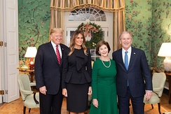 George W. Bush and Laura Bush with President Donald Trump and First Lady Melania Trump in 2018