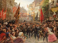 Danish soldiers return to Copenhagen in 1849, after the First Schleswig War - painting by Otto Bache (1894)