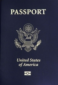 The U.S. coat of arms on the front of a United States passport.
