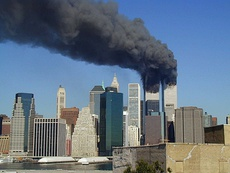 The World Trade Center in Lower Manhattan during the September 11 terrorist attacks by the Islamic terrorist group Al-Qaeda in 2001