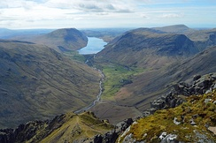 The view towards Wast Water from the cairn built by the Westmorland brothers in 1876 to the SW of the summit of Great Gable, which they considered the finest view in the district.
