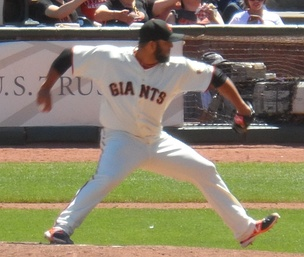 Petit pitching for the San Francisco Giants in 2014