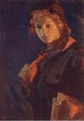 N. Kasatkin. Pioneer-girl with book (1926)