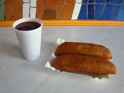 Pasztecik szczeciński with clear borscht, a local fast food