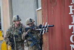 1st Squadron, 3rd Cavalry Regiment of the US Army drill with the Battelle DroneDefender in Iraq, 30 October 2018. US troops anticipate ISIL units deploying drones during reconnaissance or attacks
