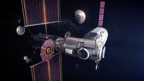 Phase 1 early Gateway with Power and Propulsion Element (left), Habitation and Logistics Outpost (center foreground), and cargo spacecraft (center background) depicted