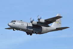 Lockheed C-130H-LM Hercules 81-0631 of the 700th Airlift Squadron prepares for approach and landing at Dobbins.
