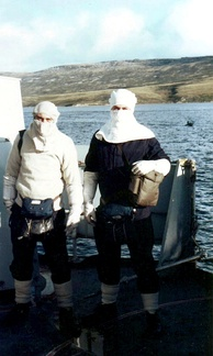 British sailors in anti-flash gear at action stations on HMS Cardiff near San Carlos, June 1982