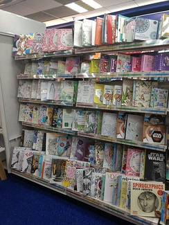 Display of coloring books in a shop