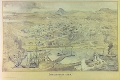 "Wollongong N.S.W. 1887; Aerial view of Wollongong Harbour. From the ""Illustrated Sydney News"" of 15 October 1887."