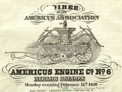 "Ticket to an 1859 ""soiree"" to benefit Tweed's Americus Engine Co."