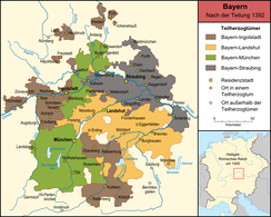 Bavarian duchies after the partition of 1392