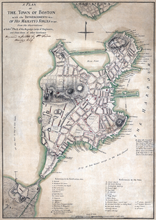 A map showing the British Army's tactical evaluation of Boston in 1775.