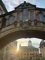 The Bridge of Sighs links sections of Hertford College: as seen from New College Lane with the Sheldonian Theatre in the background.