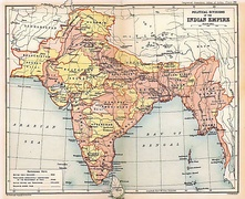 The British Indian Empire at its greatest extent (in a map of 1909). The princely states under British suzerainty are in yellow.