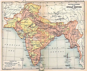 The British Indian Empire in 1909. British India is shown in pink; the  princely states in yellow.