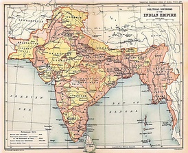 A map of the British Indian Empire in 1909 during the partition of Bengal (1905–1911), showing British India in two shades of pink (coral and pale) and the princely states in yellow.