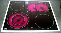 A high strength glass-ceramic cooktop with negligible thermal expansion.