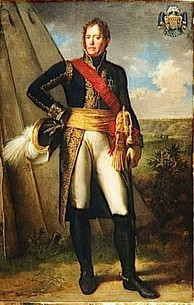 Formal full-length portrait of a Michel Ney in uniform, in the field, with a tent beside him and a distant landscape. He is a tall, broad-shouldered man with a long face, a gentle expression and light curly hair. He stands at ease, holding a marshal's baton and plumed hat with one hand on his hip.