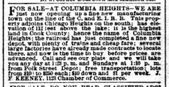 Classified ad from the Chicago Daily Tribune edition of October 25, 1891, offering real estate for sale in the newly developing community of Columbia Heights