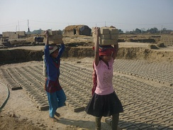 Nepali girls working in brick factory.