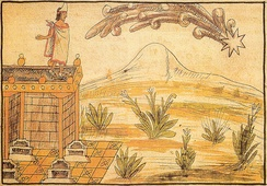 A comet seen by Moctezuma, interpreted as a sign of impending peril. Diego Durán's account from indigenous informants.