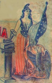 Personification of Columbia from a Columbia Records phonograph cylinder package