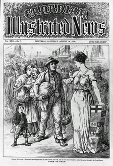 "Come to Stay, printed in 1880 in the Canadian Illustrated News, refers to immigration to the ""Dominion"". Today, there is a debate about immigrants who do not stay, but instead leave soon after securing citizenship. They are becoming known as Canadians of convenience."