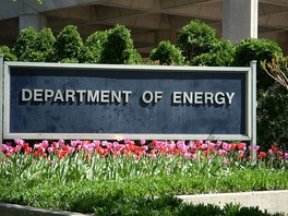 Sign in front of the United States Department of Energy Forrestal Building on 1000 Independence Avenue in Washington D.C.