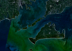 Aerial view of Martha's Vineyard with Elizabeth Islands above