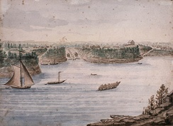 The Ottawa locks of the Rideau Canal and Barrack Hill—today Parliament Hill—to the right of centre; 1832