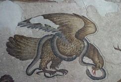 Eagle and Snake, 6th century mosaic flooring Constantinople, Grand Imperial Palace.
