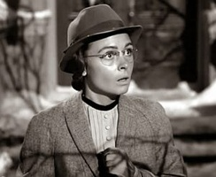 Mary Hatch (Donna Reed), spinster librarian, in the world where George Bailey was never born.