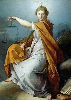 Фемида на картине «Правосудие» Пьера Сюблейра, XVIIIв.
