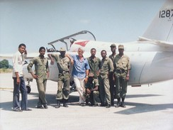 Lynn Garrison with Haitian Corps d'Aviation Marchetti and crew, September 1990